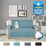 H.VERSAILTEX Full Water-repellent Plush Furniture Protector Slipcovers for Dogs Cats Stay in Place 75 inch X 90 inch (Love Seat - Smoke Blue)