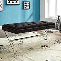 Armen Living LCJOBEBL Joanna Bench in Black Velvet and Acrylic Finish