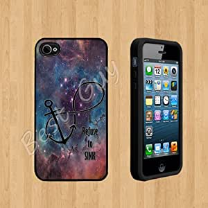 I refuse to sink infinity anchor 9 nebula Custom Case/Cover FOR Apple iPhone 4 /4S BLACK Rubber Case ( Ship From CA )