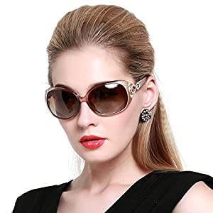 DUCO Shades Classic Oversized Polarized Sunglasses for Women 100% UV Protection 1220 Champagne Frame Brown Lens