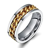 8mm Cool 316l Stainless Steel Spinner Curban Chain Center Spinner Ring Bands for Men,Comfort Fit