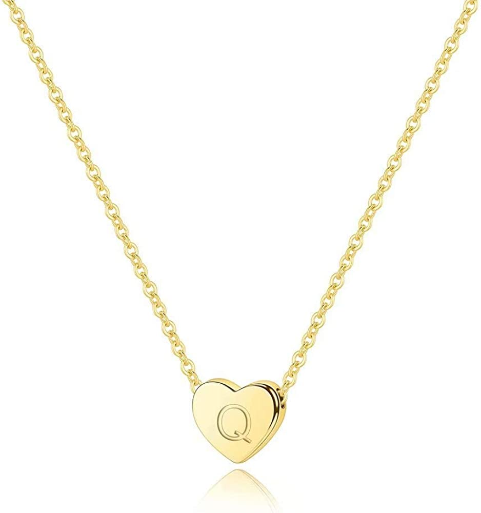 M MOOHAM Gold Heart Initial Necklaces for Women Heart Pendant 14K Gold Filled Letter Initial Necklace Engraved Dainty Tiny Alphabet Initial Necklace for Women Girls Teens Kids Jewelry