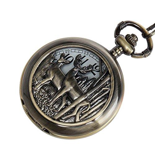 - Deer Design Pocket Watch Chain Quartz Movement Arabic Numerals Half Hunter + Box