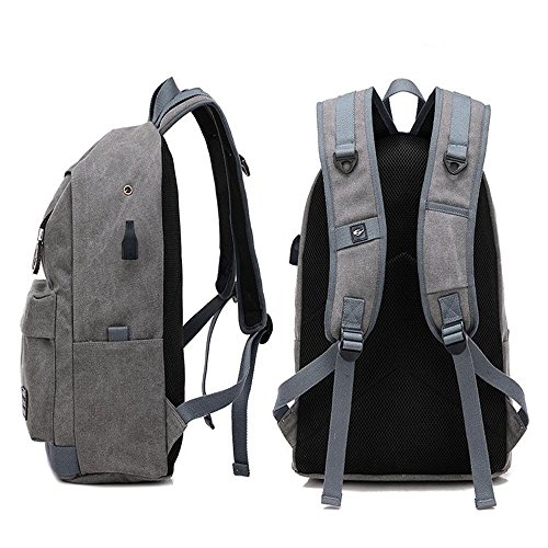 Laptop Backpack with USB Charging Pot Canvas Unisex Backpack Vintage School Bag Backpack for Travel Men & Women (Coffee): Amazon.com: Grocery & Gourmet Food