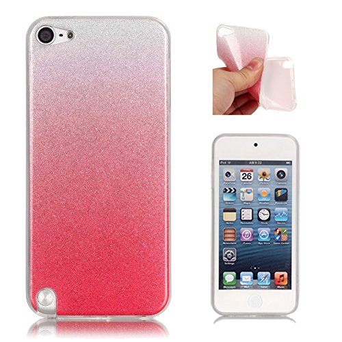 (iPod Touch 6 Case, iPod Touch 5 Case Aeeque Ultra Slim Fit Glitter Bling Gradual Cover Bumper Soft TPU Silicone Rubber Shock Absorbing Protective Case for iPod Touch 5th/6th Generation - Red)