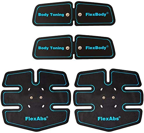 FlexTone Replacement Gel Pads for Abs Stimulator – 4 Pcs – FDA Cleared – Used for EMS Muscle Toner, Abdominal Toning Belt and Waist Trimmer for Body, Abdominal, Arm and Leg