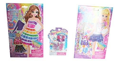 3 Pc Lisa Frank Sticker Dress up Dolls and Lip Gloss Bundle (Blonde Craft Doll)