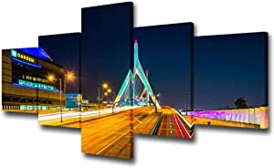 Prints on Canvas 5 Piece Painting Building Art The Td Garden Boston Bruins Stadium Painting National Hockey League Sports Living Room Decor Wall Art (Size A) No Frame