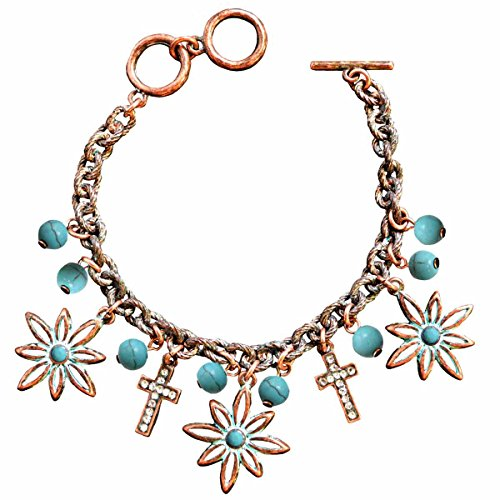 Flower Cross Faith Gear Women's Copper Christian Bracelet