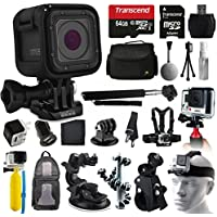 GoPro HERO5 Session HD Action Camera (CHDHS-501) + All You Need 64GB Accessories Kit with 64GB Card + Case + Selfie Stick + Chest/Head Strap + Car/Bike Mount + Backpack + Travel Charger + More!