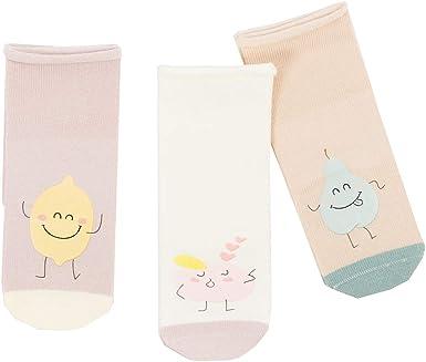 Kids Non Skid Knee High Cotton Socks for Infant Baby Boys Girls 3 Pairs Toddler Socks Fruit Patterns