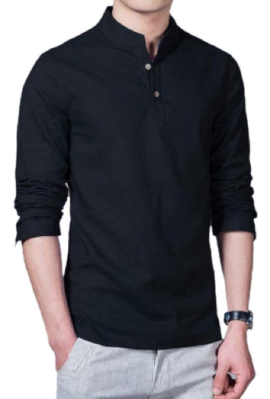 ZXFHZS Mens Daily Cotton Linen Long-Sleeve Henley Neck Look Tops