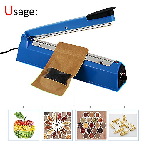 "2yDream FS300 12"" 300mm Manual impulse heat sealer for plastic films as Cellophane Bag, sealing machine with Extra Heating Element and Teflon Sheet"