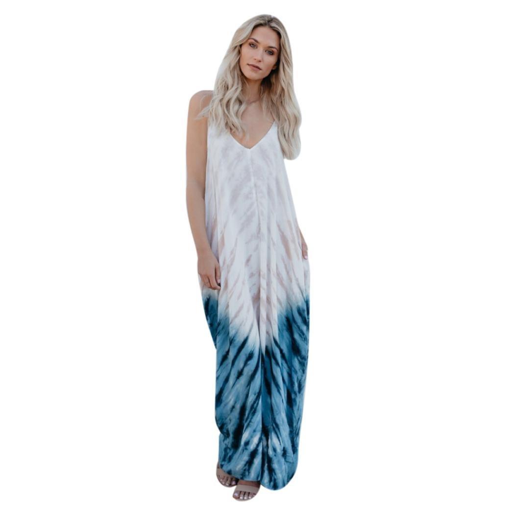 Women Plus Size Dress,Jushye Ladies Casual Sleeveless Striped Long Boho Dress Beach Summer Sundress Maxi Dress (S, White) by Jushye