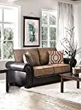 Ceuta Brown Chenille/Leatherette Loveseat by Furniture of America