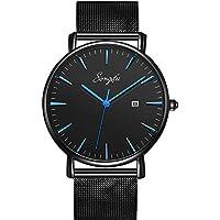 songdu Hombres Fecha de moda del Slim relojes con malla de acero inoxidable banda de cuarzo analógico, Estándar, Azul y negro