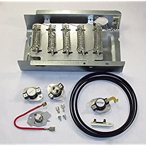 AP3094254 - HEAVY DUTY CLOTHES DRYER HEATING ELEMENT KIT FOR WHIRLPOOL, KENMORE, SEARS, CONTAINS ALL THERMOSTAT AND FUSES ALSO NEW BELT