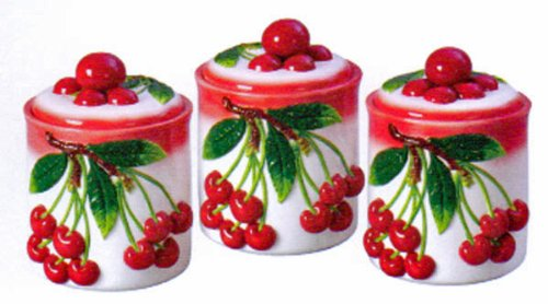 UPC 846825020508, 3pc Deluxe Red Cherry Canisters set