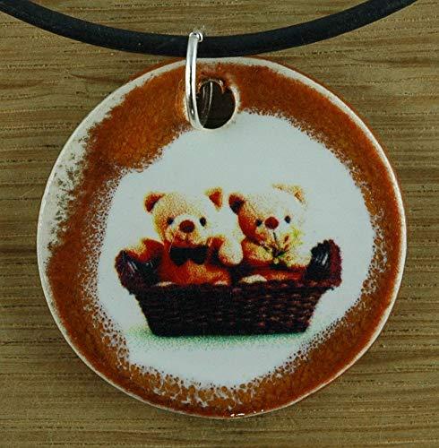 (Orginal handicraft: Teddy Bear; plush toy, cuddly toy, jewellery, jewelry, handcrafted necklace, best gift, art, ceramic)