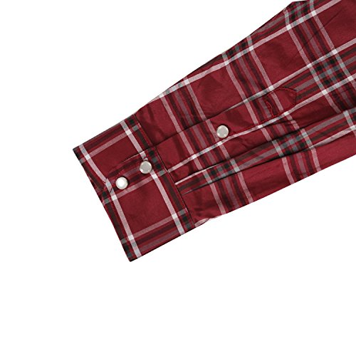 2ffc095bf05 Coevals Club Men's Long Sleeve Casual Western Plaid Snap Buttons Shirt (M,  8#