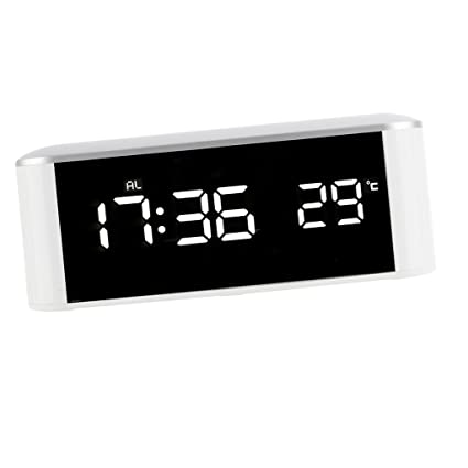 Baoblaze Reloj de Alarma Electrónico de Espejo Termómetro de Tabla - Fuente de Alimentación USB o