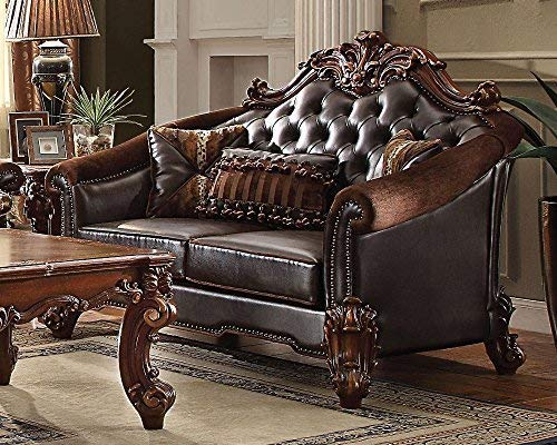 ACME Vendome II Dark Brown Faux Leather Loveseat with 3 Pillows ()