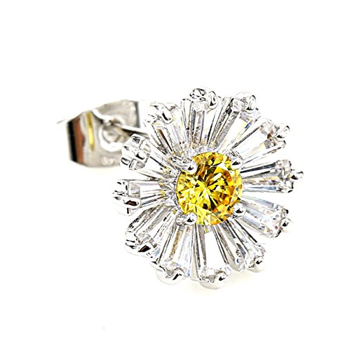 (United Elegance - Gorgeous Floral Inspired Silver Tone Designer Earrings with Sparkling Canary Yellow Swarovski Style Crystal & Baguettes (Floral))