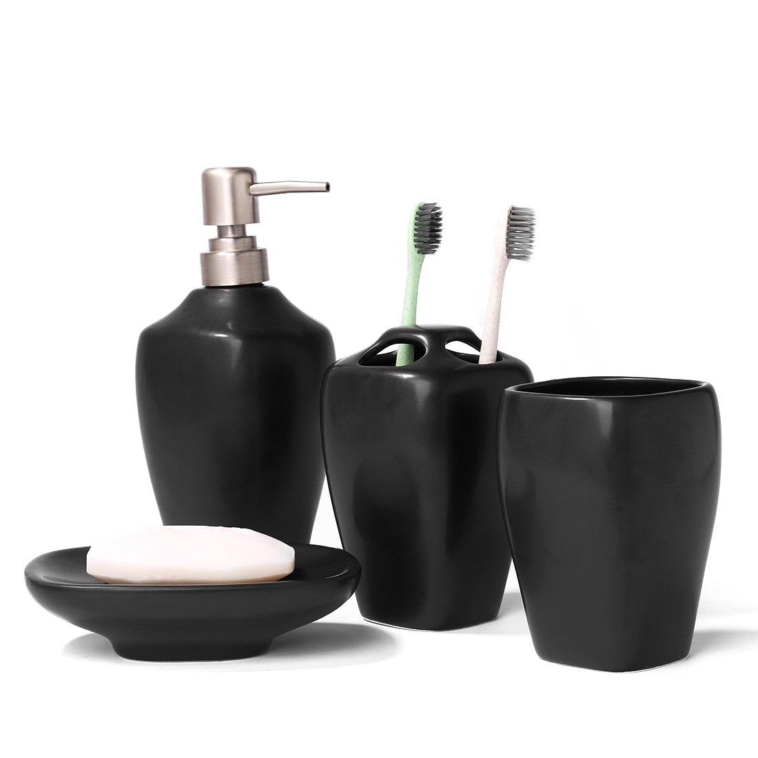 Details About FORLONG FL3013 Black Mate Ceramic Bathroom Accessories Set Of  4:1 Gargle Cups,1