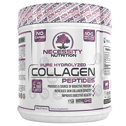 Collagen Peptides Powder Pure Hydrolyzed - Non GMO Grass Fed Pasture Raised Bovine Hide Premium Quality Protein - Gluten Free Paleo/Keto Friendly 17.64oz Supplement Healthy Skin Hair Nails Best Value