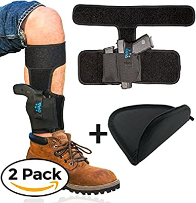 Ankle Holster For Concealed Carry with Handgun Rug Bundle | Neoprene, Universal, Pistol Leg Holster w/ Mag Pouch For Glock 19 26 43, S&W Bodyguard .380, M&P Shield, Ruger LCP/LC9, Sig Sauer, Walther