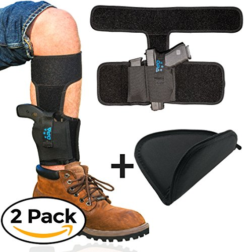 Ankle Holster For Concealed Carry with Handgun Rug Bundle | Neoprene, Universal, Pistol Leg Holster w/ Mag Pouch For Glock 19 26 43, S&W Bodyguard .380, M&P Shield, Ruger LCP/LC9, Sig Sauer, Walther Six Gun Bundle