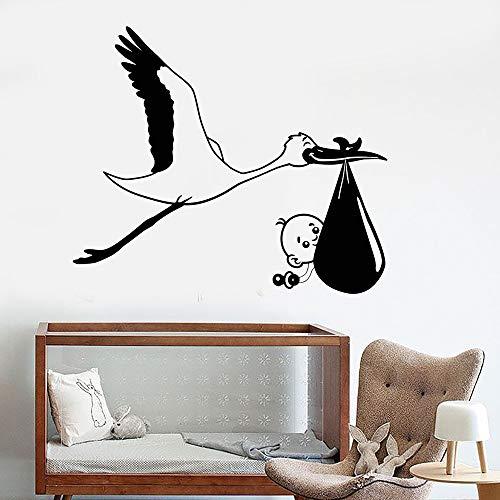 - Ksiae DIY Removable Vinyl Decal Mural Letter Wall Sticker Stork Baby Bird Nursery Decor for Children's Rooms Stickers for Kids Room