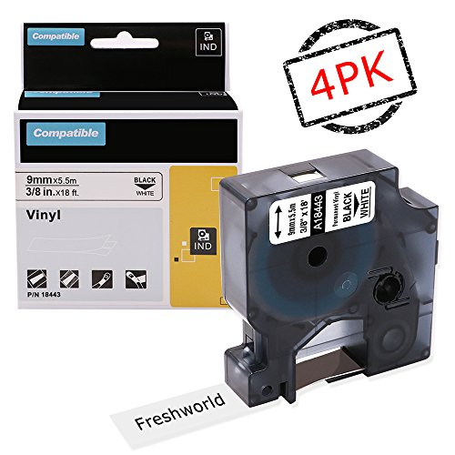 Compatible Dymo Rhino Permanent Vinyl 18443 Labels Tape, for DYMO Rhino 4200,5000,5200,6000,RhinoPro Label Maker, Industrial LabelWriter, Black on White, 3/8 x 18ft,(9mm x 5.5m), 4 Pack