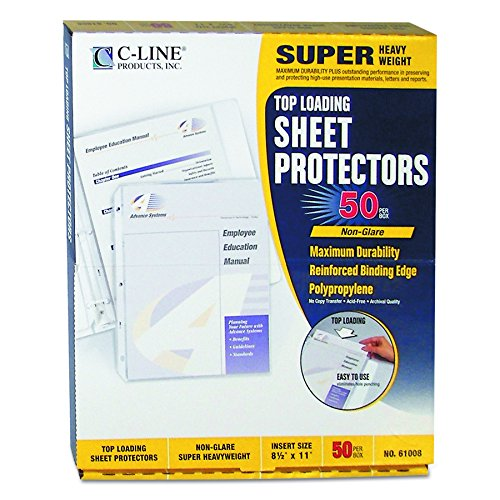 C-Line Top Loading Super Heavyweight Poly Sheet Protectors, Non-Glare, 11 x 8.5 Inches, 50 per Box (Super Heavyweight Sheet Protector)