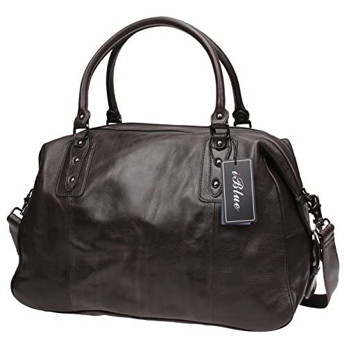 Iblue Men Leather Duffle Travel Overnight Weekend Bag Brown D03