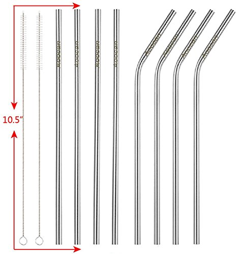 Aoocan Set of 8 Stainless Steel Straws FDA-Approved Extra Long 10.5'' Drinking Metal Straws For 20 30oz Stainless Tumblers Ramblers Fits all RTIC Yeti Ozark Trail Tumblers Cold Beverage
