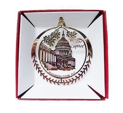 Capitol Building Washington D.C. Christmas ORNAMENT Brass Travel Gift Souvenir