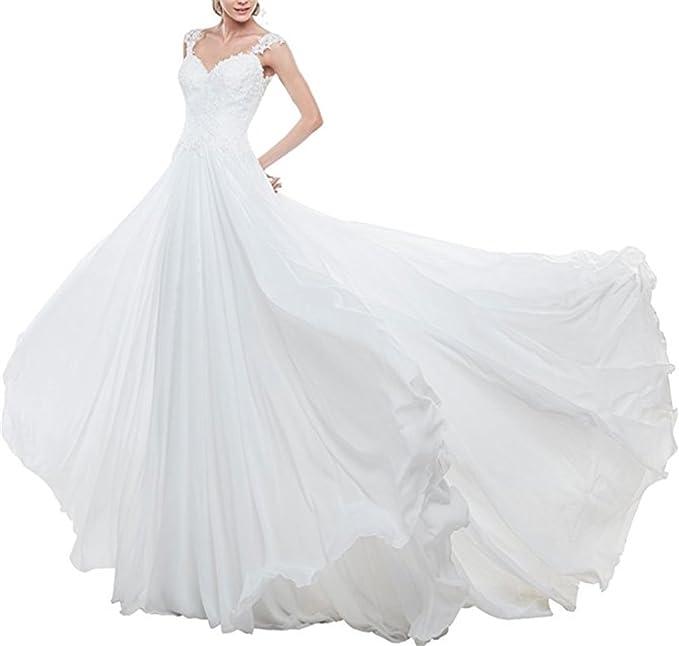 ANJURUISI Gasa vestido de novia de playa 2017 vestidos de novia de espalda larga cola vestidos de novia para bodas: Amazon.es: Ropa y accesorios