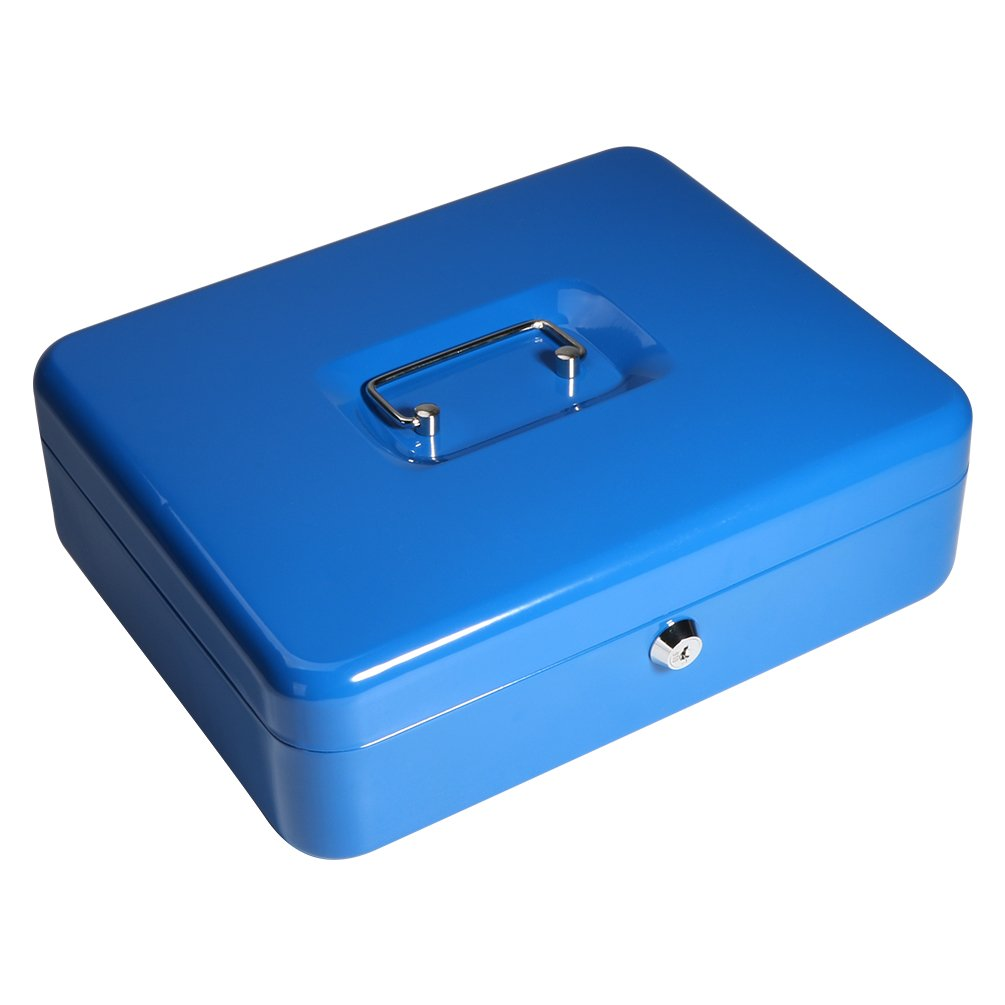 Locking Cash Box with Money Tray, Decaller Large Storge Money Box with Key Lock, 11 4/5'' x 9 1/2'' x 3 3/5'', Blue, QH3005L