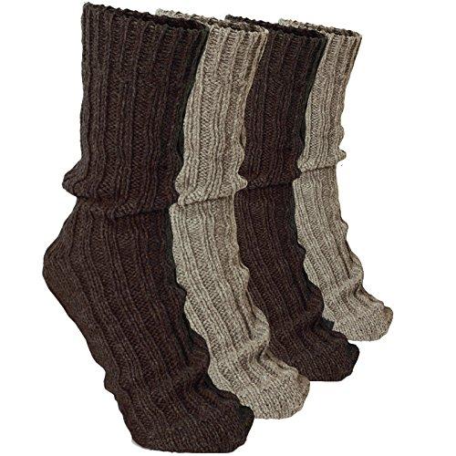 BRUBAKER 4 Pairs Thick Alpaca Winter Socks 100% Alpaca Browns EU 43-46 / US 9-11.5