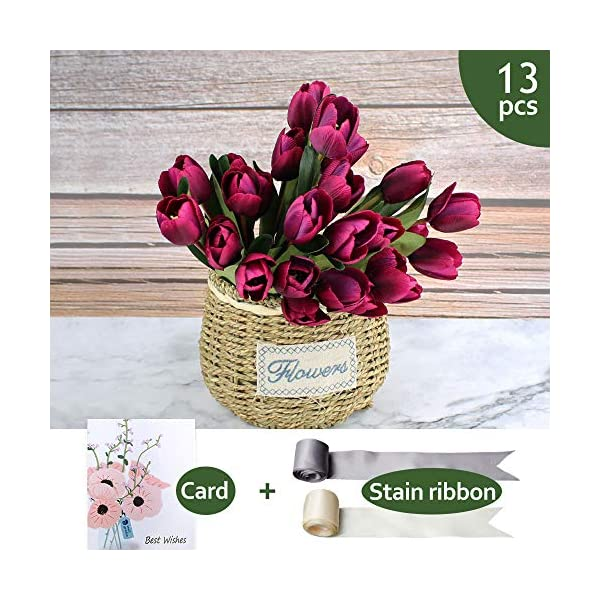 SNAIL GARDEN SnailGarden 27 Pcs Silk Tulip,13.8″ 3 Pack Artificial Flowers, Artificial Bouquet with Satin Ribbon for Home Room Office Wedding Party Decor (Purple)