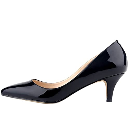 fa561d20a7c6 OCHENTA Femme Escarpins Sexy En PU Verni Talon Moyen Aiguille Chaussures  Traivail Mariage Noir 36