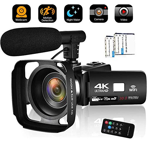 Camcorder Video Camera 4K 30MP WiFi Vlogging Camera Night Vision Camcorder Blogging Camera 16x Digital Camera Vlog Video Camera Camcorder with Lens Hoods