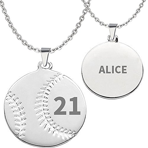 HACOOL 925 Sterling Silver Personalized Unisex Men Baseball Necklace Custom Made with Any Name & Number (Women:2.02.0cm+18 inch chain) (Sterling Silver Softball)