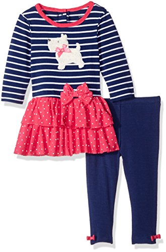 Little Me Baby Girls' Knit Dress with Legging Set,  Azul Marino Multic