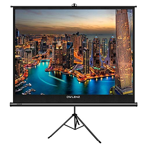 The First Projector Screen with Stand Green Environmental, OWLENZ Indoor and Outdoor Movie Screen 100 inch Diagonal 4:3 with Premium Wrinkle-Free Design (Easy to Clean, 1.1 Gain, 160° Viewing Angle) (Lcd Projector Stand)