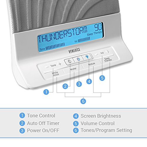 HoMedics Therapy Machine Remote, Timer, Dimmer, Speakers Nature Distractions, 8 Sleep