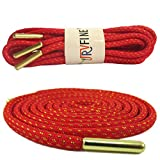YJRVFINE 1 Pair 62.99'Round Metallic Simple Sense Shoestrings for Basketball Shoes Rope Shoelaces Red With Metal Tips