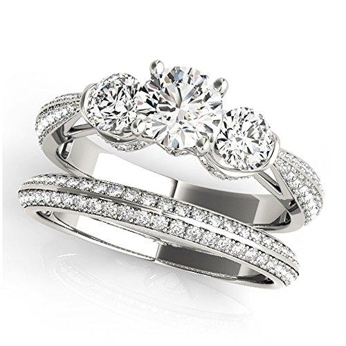 14K White Gold Unique Wedding Diamond Bridal Set Style MT51041