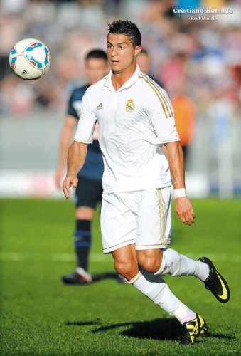 17e4ea967 Cristiano Ronaldo in action white jersey  A POSTER 23.5 x 34 Real Madrid soccer  football star from Portugal looks at ball (sent from USA in PVC pipe)  ...